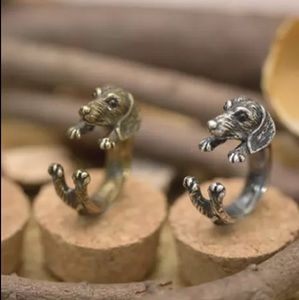 Dachshund Dog Wrap Ring Silver